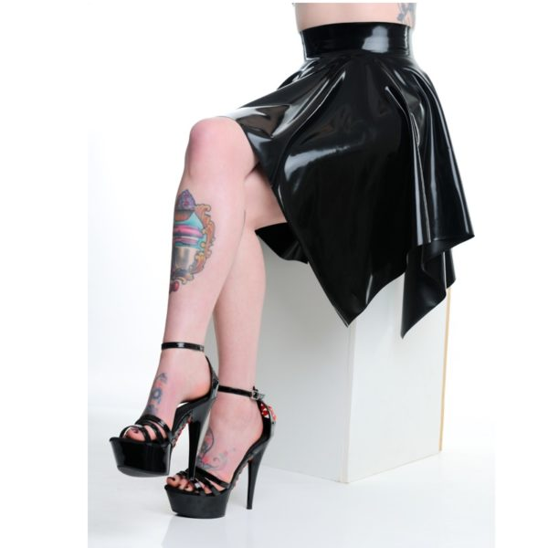 latex square skater skirt