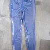 latex extended blue leggings