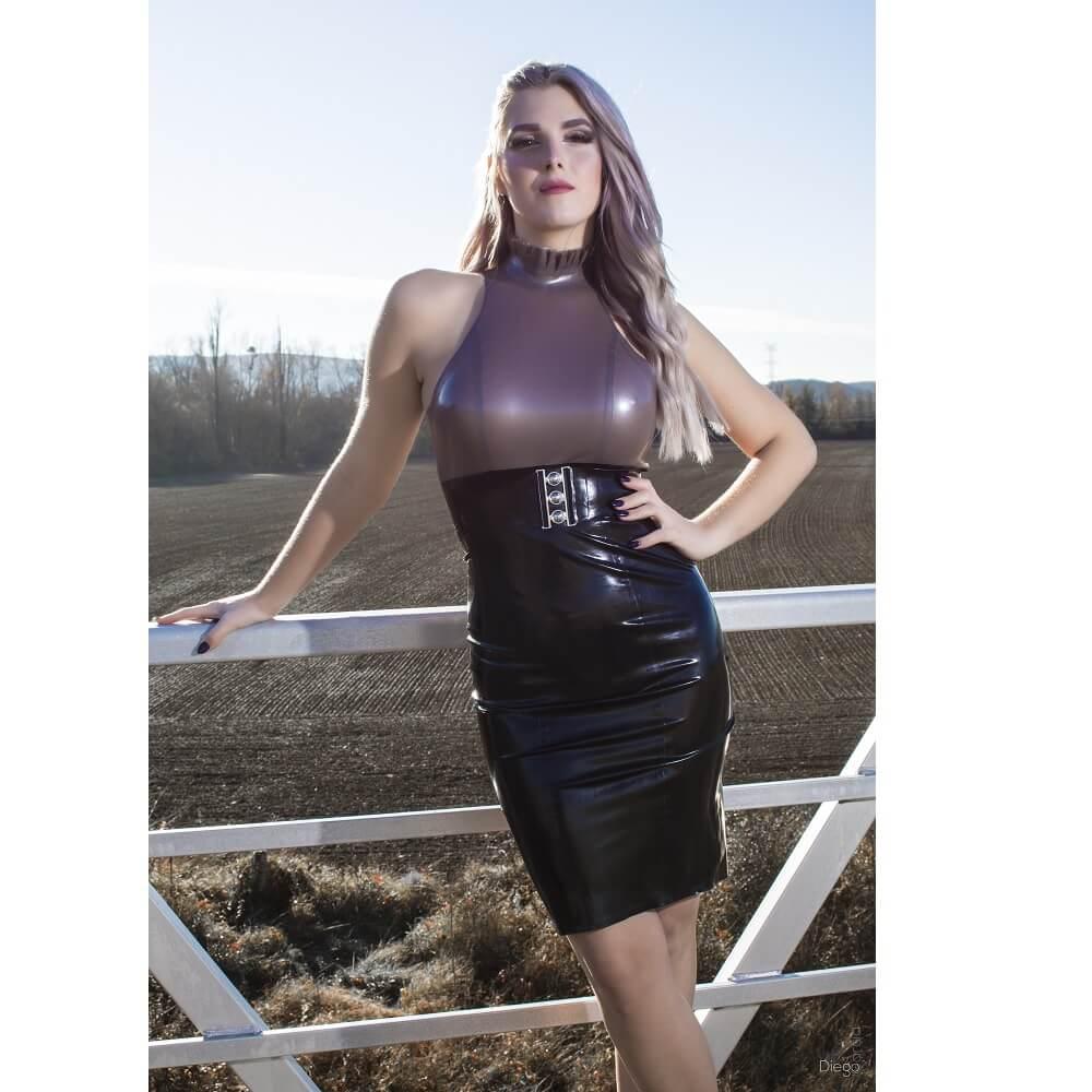 Latex rubber pencil dress
