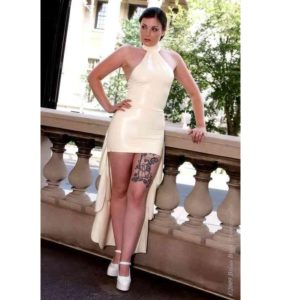 Latex white wedding dress