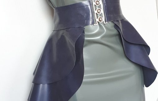 latex off shoulder dress