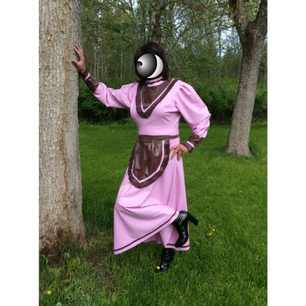 Latex long maid dress