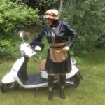 mistress in latex and on a motorbike