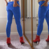 Skin tight latex jeans