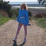latex blue dress