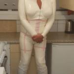 white latex corset catsuit